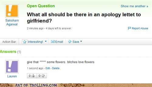apology,flowers,girlfriend,Ladies Love,Yahoo Answer Fails