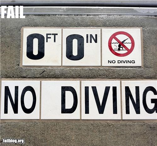 No Diving FAIL