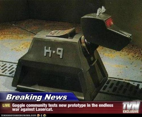 Breaking News - Goggie community tests new prototype in the endless war against Lasercat.