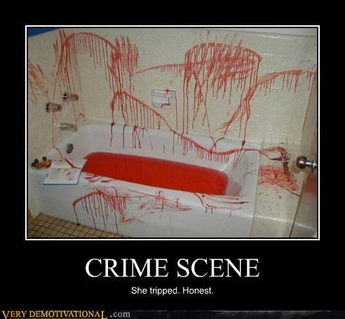 bathtub,bloody,crime scene,hilarious,tripped