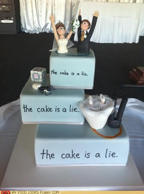 bride and groom,cake,companion cube,Portal,the cake is a lie,video game,wedding