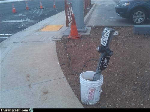 bucket,cross walk,tax dollars at work