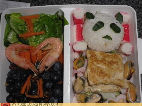 bento,carrots,grapes,i heart you,krab,lunch,oysters,panda,rice,seafood,shrimp