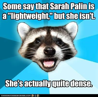 "Some say that Sarah Palin is a ""lightweight,"" but she isn't.       She's actually quite dense."