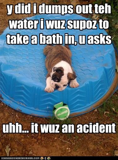 y did i dumps out teh water i wuz supoz to take a bath in, u asks