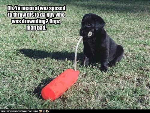 Oh. Yu meen ai wuz sposed to throw dis to da guy who was drownding? Oopz, mah bad.