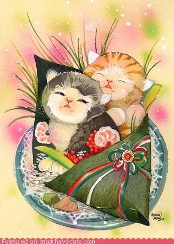 art,kitties,matted,print,signed,sushi