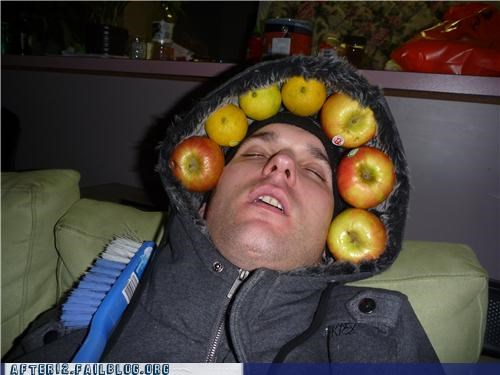 apple,fruit,hood,passed out
