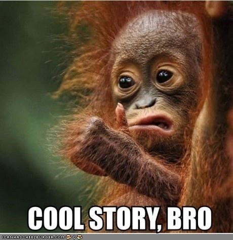 Babies,caption,captioned,cool story bro,Memes,orangutan,story,thumbs up