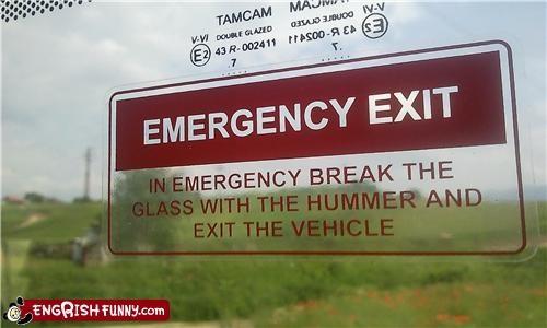 exit,hummer,window