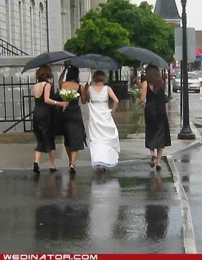 bridal party,bride,bridesmaids,funny wedding photos,rain,star wars