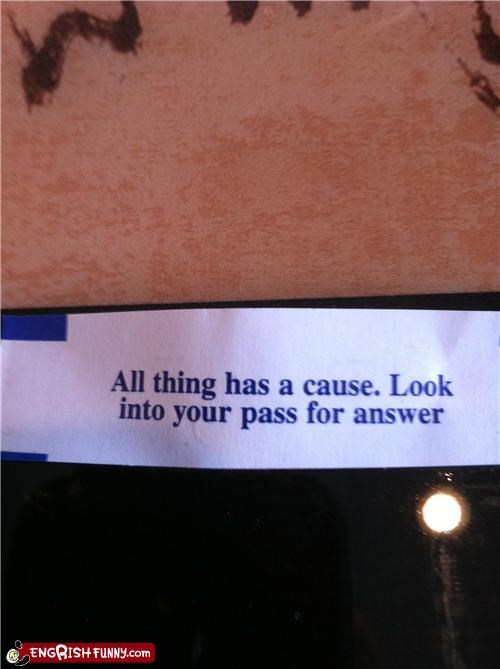 Fortune Cookie Friday - The Pass Knows All