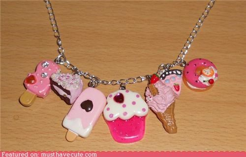 accessory,cake,cupcake,ice cream,Jewelry,miniature,necklace,pie,pink,sweets