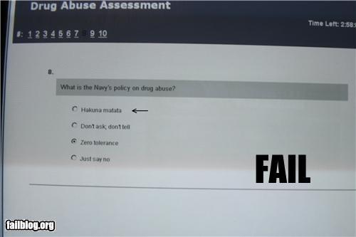 Drug Policy Answer Fail