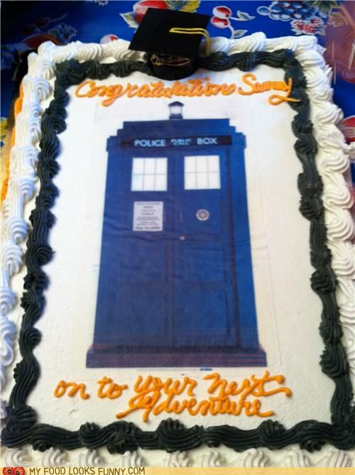 cake,doctor who,frosting,graduation,phone box,tardis