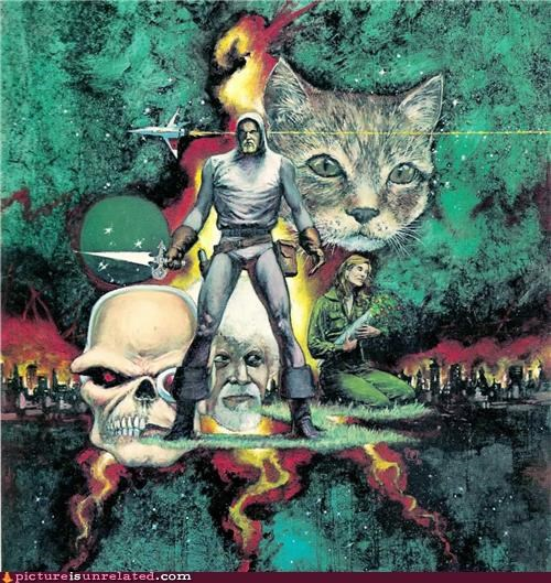 art,cat,future,past,poster,skull,sword,wtf