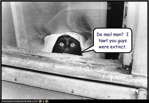 De mail man?  I tawt you guys were extinct.