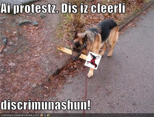 discrimination,do not want,german shepherd,protesting,protests,sign,upset