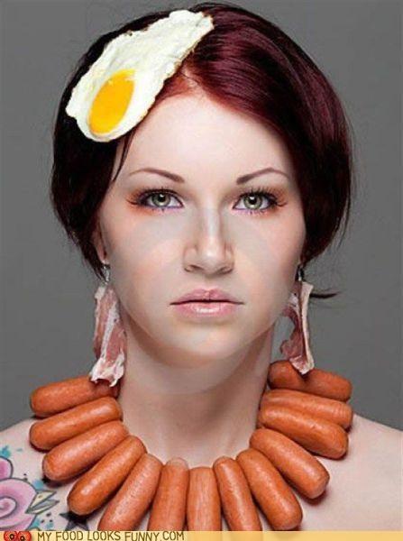 egg,fashion,hat,necklace,sausage