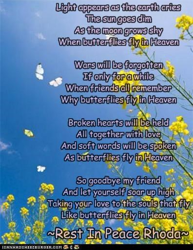 When Butterflies Fly In Heaven - A Memorial Poem for Rhokit by AngelAndz