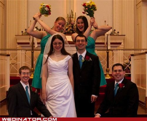 bride,bridesmaids,flowers,funny wedding photos,groom,photobomb