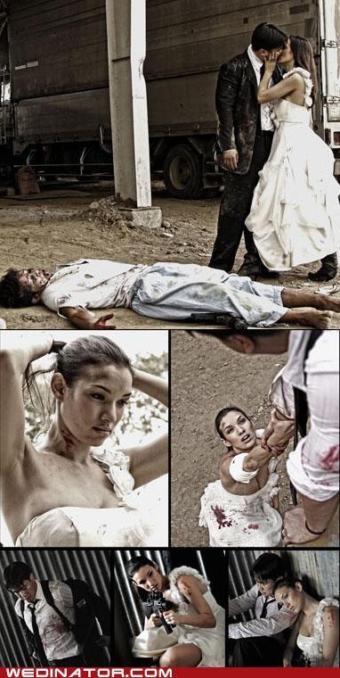 bride,funny wedding photos,groom,Left 4 Dead,zombie