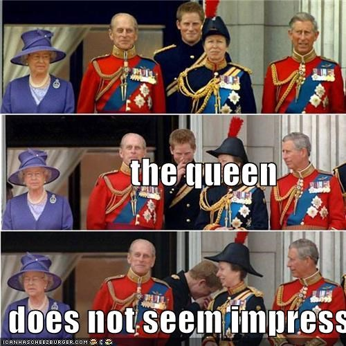 the queen  does not seem impressed