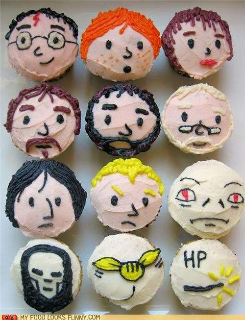 characters,cupcakes,faces,Harry Potter,heads