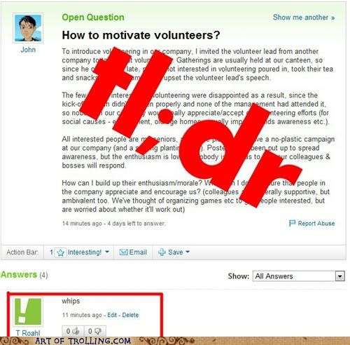 motivation,slaves,volunteers,whips,Yahoo Answer Fails