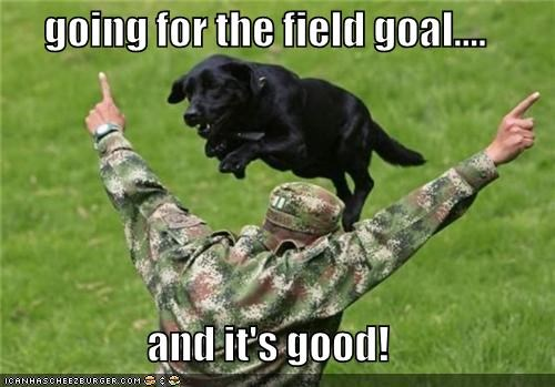 going for the field goal....  and it's good!