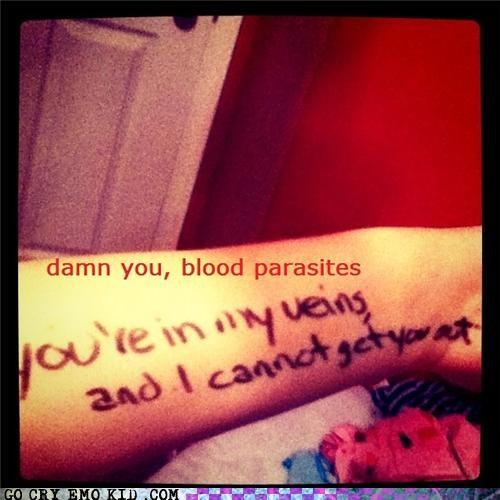 blood parasites,doctor,veins,weird kid