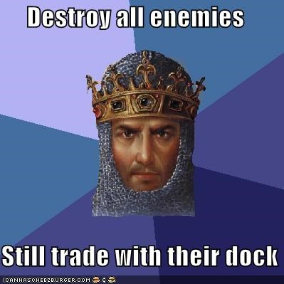 age of empires,destroy,dock,gold,items,pillaging,trade,video games