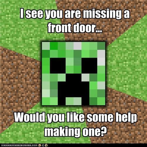 creeper,door,explosion,Memes,minecraft,video games