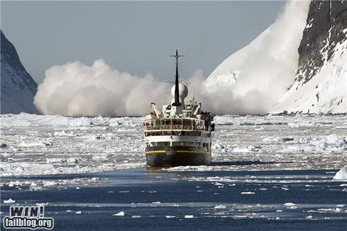 avalanche,ice,out running,sailing,sea,ship