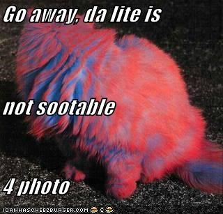 Go away, da lite is not sootable 4 photo