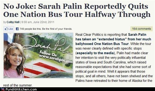 bus tour,political pictures,quit,Sarah Palin,speed