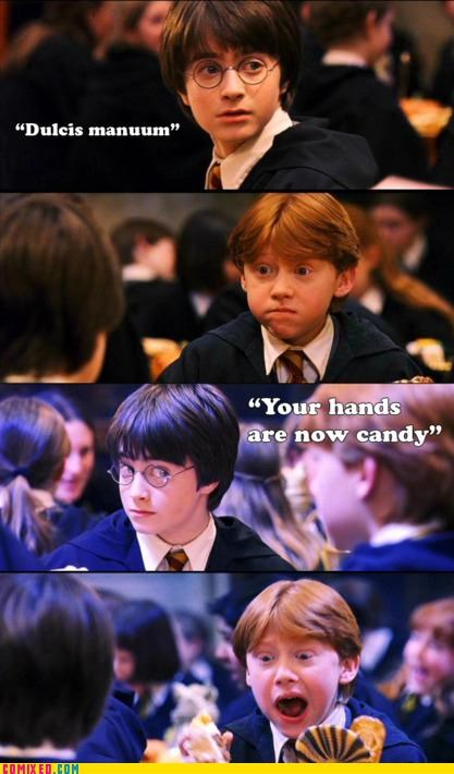 candy,hands,harry,Harry Potter,ron,spell