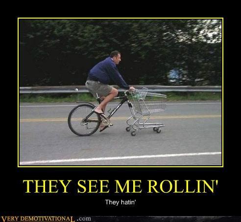 bicycle,hilarious,rolling,shopping cart