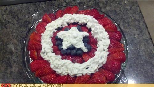 berries,captain america,logo,pie,shield,whipped cream