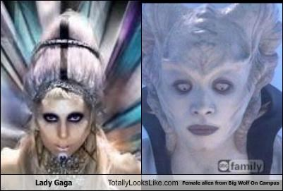 "Lady Gaga Totally Looks Like Female Alien from ""Big Wolf on Campus"""