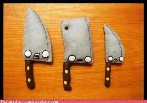 cleaver,fabric,faces,felt,horror,knives