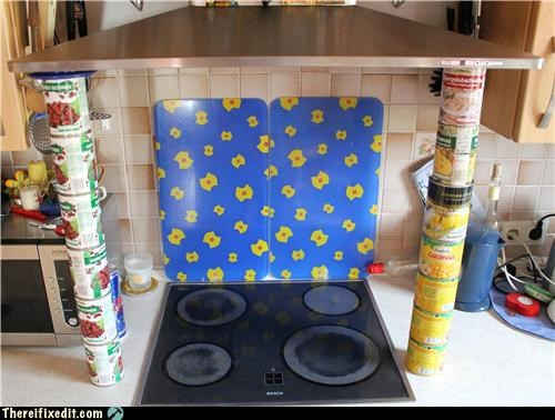 cans,holding it up,kitchen kludge