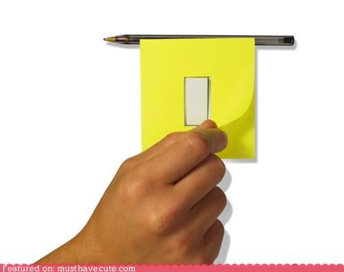 light switch,post its,sticky notes
