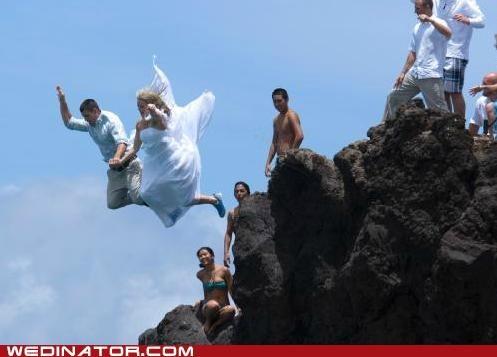 bride,funny wedding photos,groom,jump,ocean