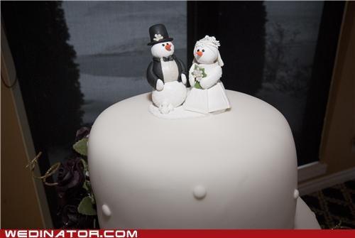 cake toppers,Canada,funny wedding photos,snowmen