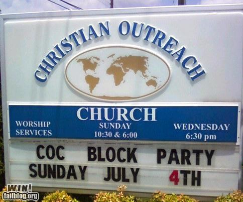 church,marquee,missing letter
