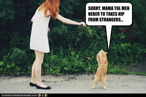 SORRY, MAMA TOL MEH NEBER TO TAKES NIP FROM STRANGERS...