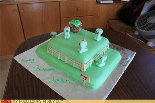 cake,candles,creepers,fondant,green,minecraft
