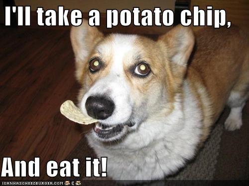 I'll take a potato chip,  And eat it!