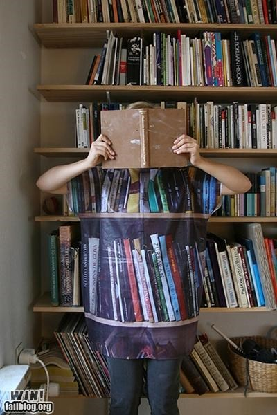 books,camouflage,clothes,library,shirt